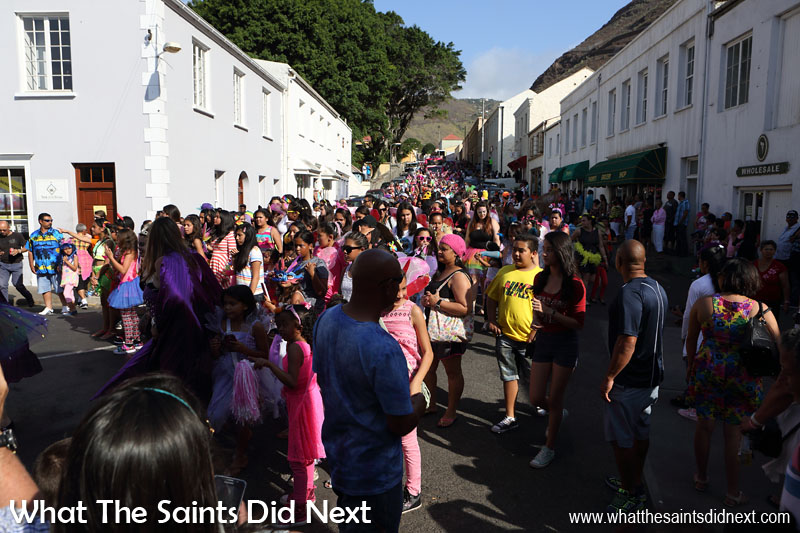 A great turnout for Carnival 2016 through historic Jamestown, St Helena, raising funds for local charity, Cancer Support and Awareness. This year's theme, 'Taking Flight' brought out wings of all shapes and sizes.