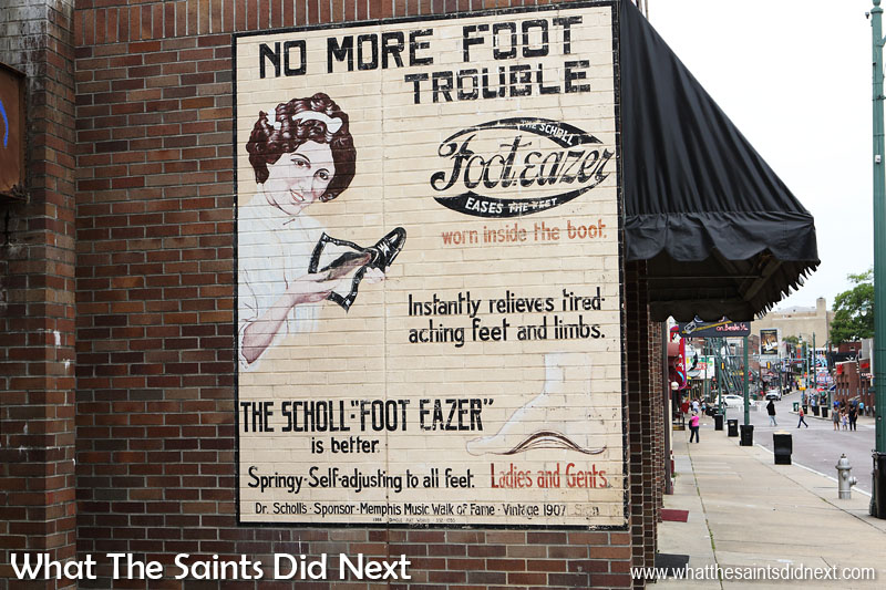 Authentic 1907 restored sign, the Scholl Foot-Eazer promising no more foot trouble. Love these old posters.