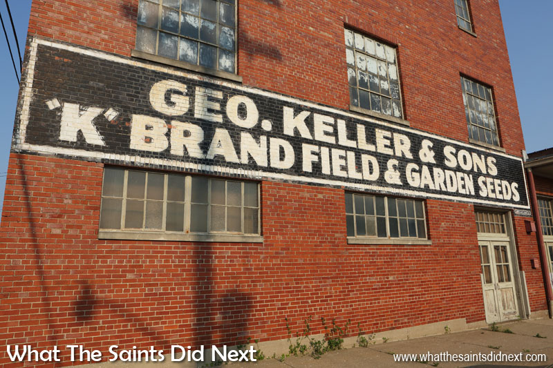 Classic sign writing from Geo Keller & Sons 'K' brand field and garden seeds. Quincy, IL.
