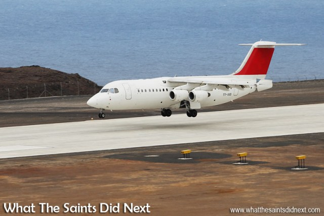Touchdown was at 15:51, Friday 21 October 2016, Atlantic Star's first flight into St Helena Airport on an Avro RJ100 jet, operated by Tronos Jet Maintenance. This flight made its own little piece of history being the first direct air connection between Ascension Island and St Helena.