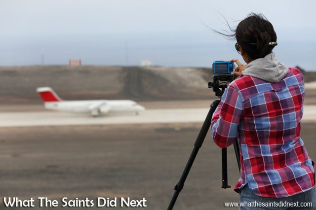 Be sure to check out our video of Atlantic Star's arrival flight at St Helena in the Avro RJ100. This is Sharon shooting the sequence as the aircraft makes its way back along the runway to the parking apron.