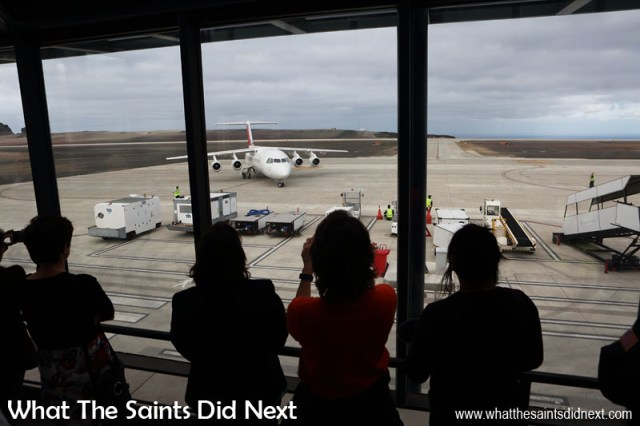 On the St Helena Airport viewing deck as the Avro RJ100, crawls into a parking position for the second time of the day having completed a quick circuit to demonstrate its take-off and landing capabilities on runway 20. This visit was Atlantic Star's first flight to the island.
