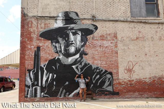 This 22 foot tall wall mural of Clint Eastwood's Josey Wales character was painted by street artist, Chris Keywood, in the town of Clarksdale, Mississippi. Clarksdale is known as the birthplace of the Blues has established itself as a mecca for music enthusiasts across the globe. International Artist Day 2016.