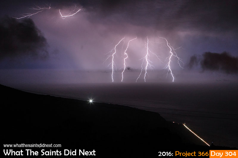 'Norcia' 30 October 2016, 23:42 - 30sec, f9, ISO-800 What The Saints Did Next - 2016 Project 366 Extremely rare electrical storm off the coast of St Helena.