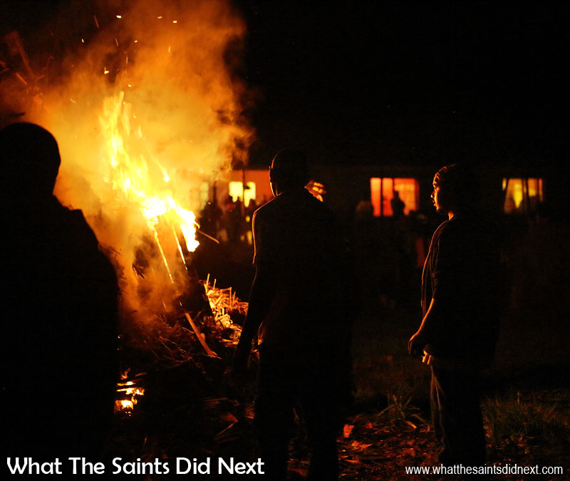 The 'fire lighters' stand back as the blaze begins to take hold. Sandy Bay, St Helena Guy Fawkes Day and Bonfire Night.