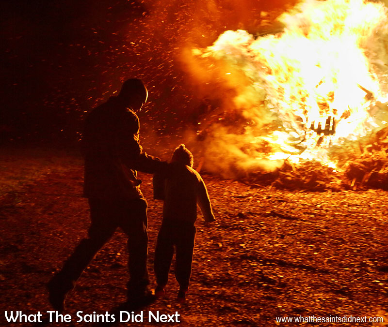 This is what happens when you mis-behave young man! - A Guy about to be thrown onto the bonfire in Sandy Bay. Sandy Bay, St Helena Guy Fawkes Day and Bonfire Night.