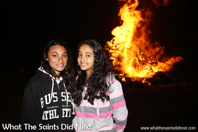 Enjoying the night out in Sandy Bay, celebrating the end of Guy Fawkes Day. Bonfire night in Sandy Bay, St Helena Island.