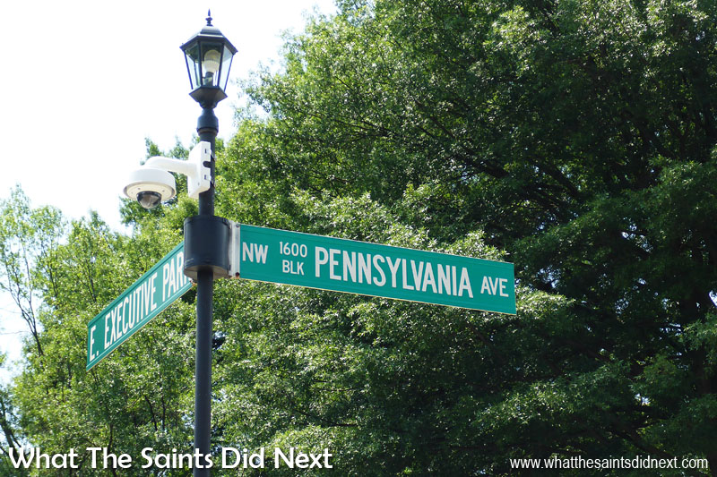 One of the most famous address signs in the world, 1600 Pennsylvania Avenue, where you will find the White House.