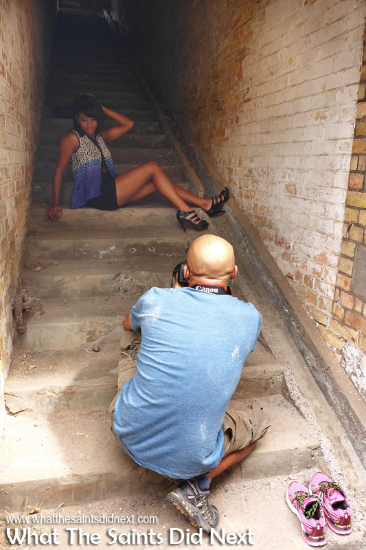 Behind the scenes on the Breeze e-magazine photoshoot. Working the space inside the stairwell at Mundens, getting quite dusty in the process.