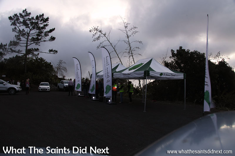 Gazeebos up, nearly dark, guests beginning to arrive - less than an hour to go for the lighting of High Knoll Fort on St Helena.
