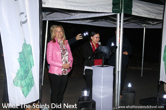A speech from Giselle Richards, before Governor Lisa Phillips (left) throws the switch to turn on the lights. Lighting High Knoll Fort, St Helena.