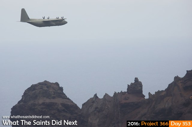 'Strictly' 18 December 2016, 13:16 - 1/1000, f8, ISO-200 What The Saints Did Next - 2016 Project 366 RAF C-130 Hercules arriving at St Helena Airport.