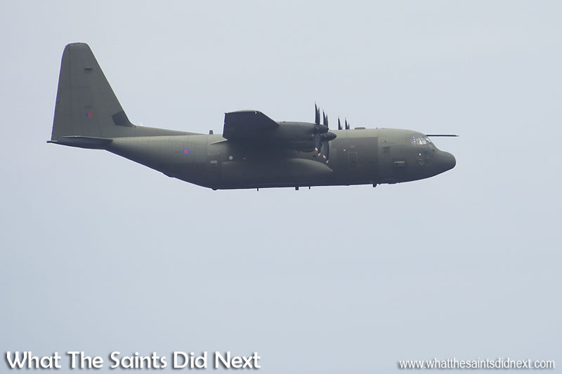 The Lockheed Martin C-130J Hercules arrives at St Helena, Sunday 18 December 2016, for its first fly by to take a look at the airport before landing.