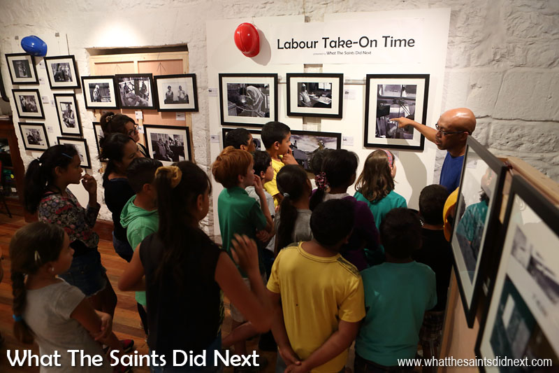 School children from Harford, on St Helena, being given a guided tour of our photography exhibition in May 2016, called, 'Labour Take-On Time.' The project presented our centuries old culture of discharging cargo from ships anchored in James Bay using small lighters. This way of life will change dramatically once the airport becomes fully operational and the RMS St Helena is no longer required.