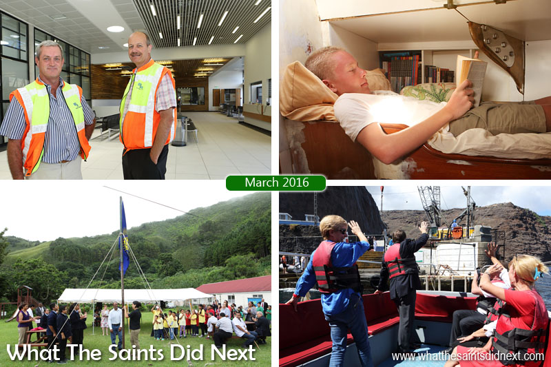 St Helena 2016: The Year In Review - March Clockwise from top left: On a tour of the new St Helena Airport with Deon De Jager and Charles Schwarz from Basil Read. Niall Gifford (16) who has spent half his life sailing the world with his family on their yacht, Totem. Governor Mark Capes and wife Tamara departs St Helena at the end of his term. Commonwealth Day 2016 being celebrated at the SHAPE centre in Sandy Bay.