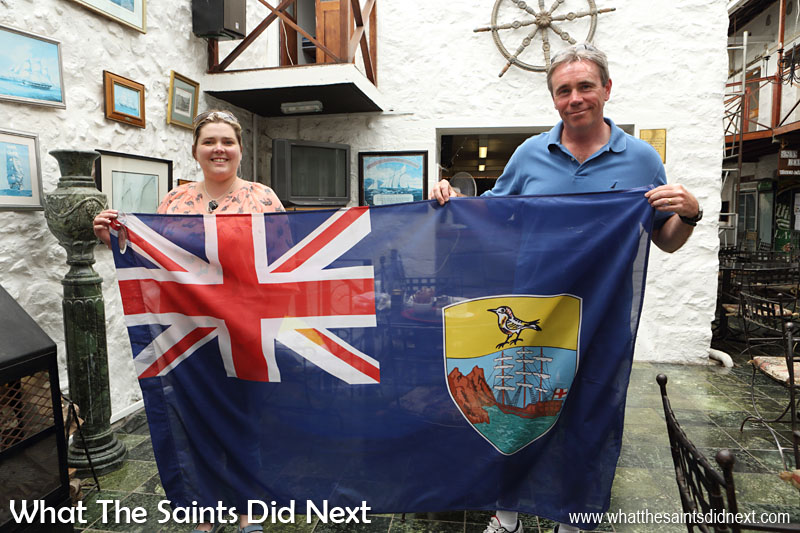 Emma & Gordon Woodward-Clark donating the official flag from Glasgow 2014, Commonwealth Games, used by team St Helena, to the island's museum on 5 April. St Helena 2016: The Year In Review