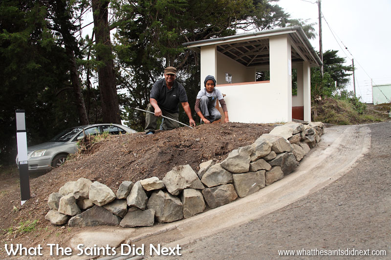 New flower bed being built at the Alarm Forest bus stop. St Helena 2016: The Year In Review