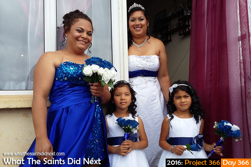 Photography Project 366 - Day 366. Ready for church. A smiling bride with her maid of honour and two flower girls.