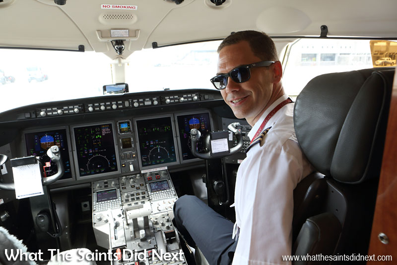 One of our pilots, Gareth Gill, who flies the Bombardier Challenger 300. Flying from St Helena Airport.
