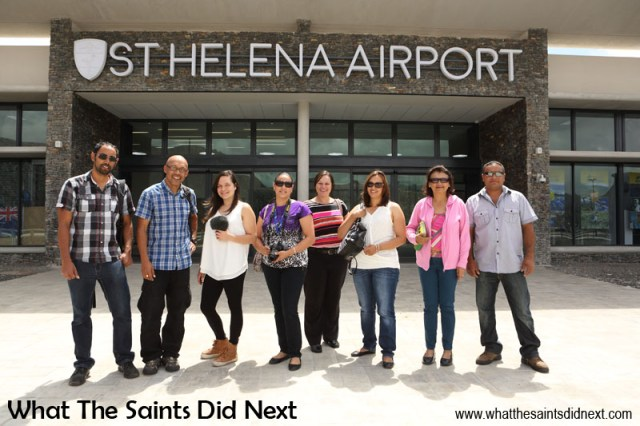 Our group from flight number one, all ready to head off with to tell our story. L-R: Simon Benjamin, Darrin Henry, Jodie Scipio-Constantine, Tessa Roberts, Mia Henry, Clare Harris, Ivy Ellick and Adrian Duncan. Flying from St Helena Airport.
