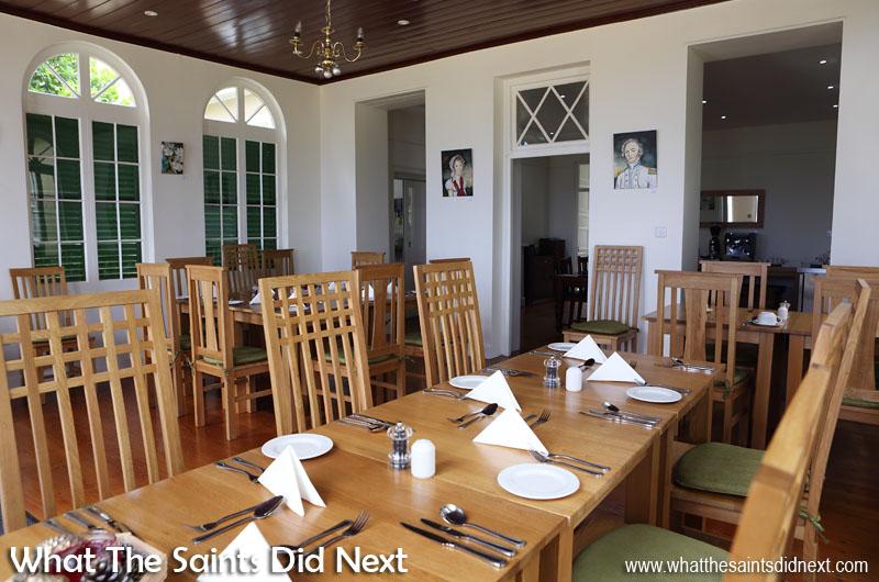 Today's new, Ebony Restaurant in Bertrand's Cottage, St Helena, in Longwood.