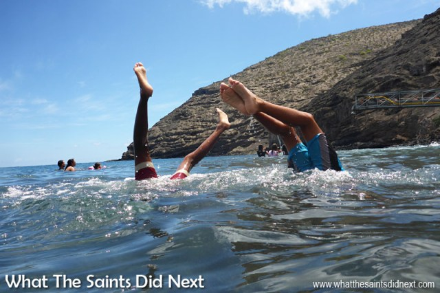Things To Do With Kids On St Helena - Hand stands at Rupert's Beach in the school holidays.