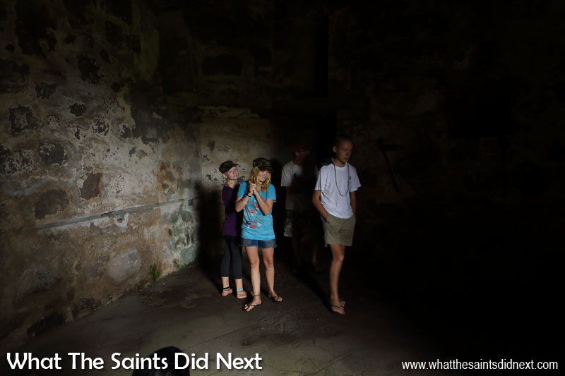 Things To Do With Kids On St Helena - Exploring the inner chambers of High Knoll Fort in 2016 with the Siobhan, Mairen and Niall from yacht, Totem.