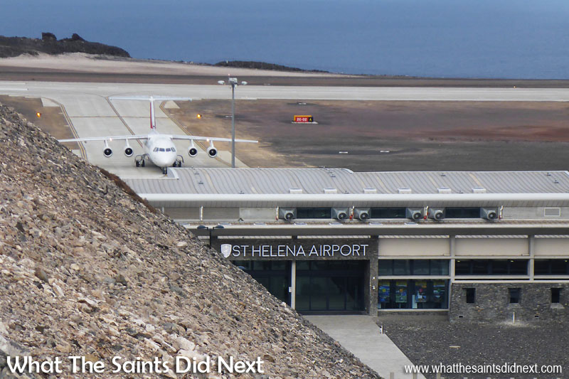 St Helena Air Service Tender. The Atlantic Star/Tronos, Avro RJ100 arriving at St Helena Airport in October, 2016.