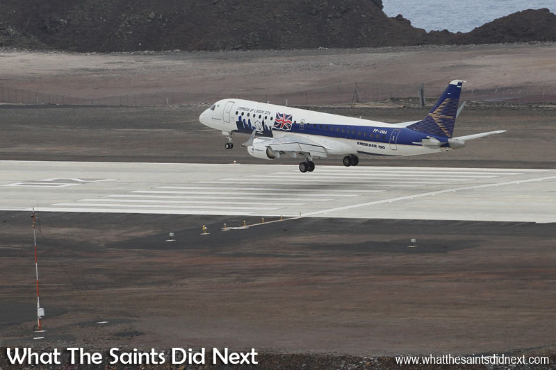 The Embraer E190 at St Helena Airport in November 2016.