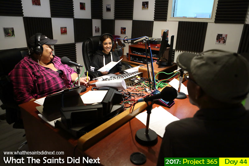 'It's a hit' 13 February 2017, 07:54 - 1/60, f4, ISO-1250 What The Saints Did Next - 2017 Project 365 Discussing Breeze e-magazine on SAMS Radio 1's 'Sunrise' show.
