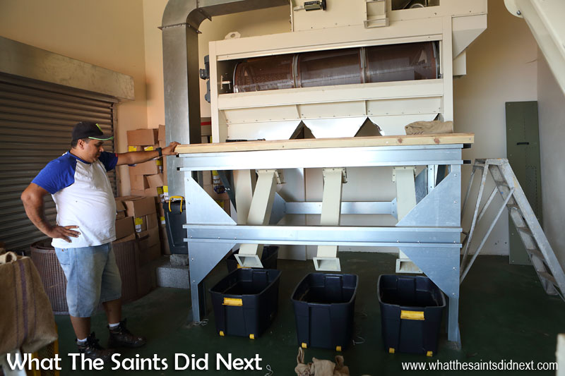 The coffee bean sorting machine in operation in Half Tree Hollow. St Helena Coffee by Solomon & Co.