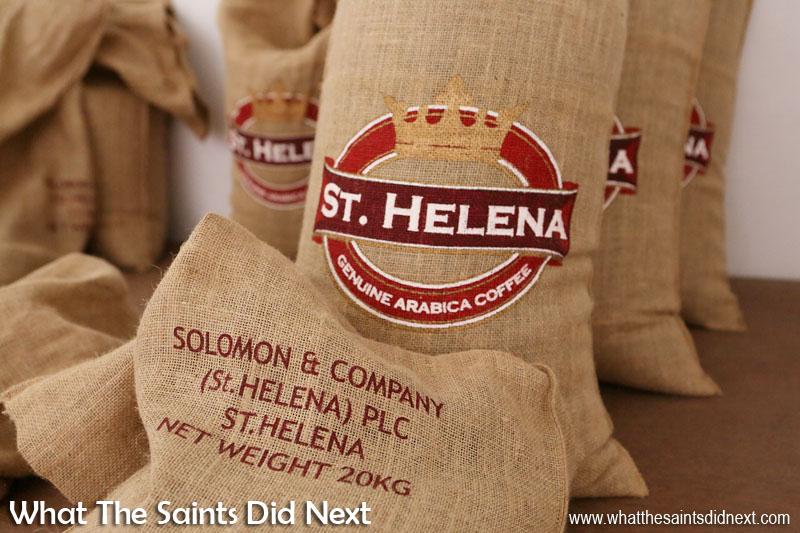 St Helena Coffee beans produced Solomon & Company, getting bagged and ready for export. St Helena Coffee by Solomon & Co.