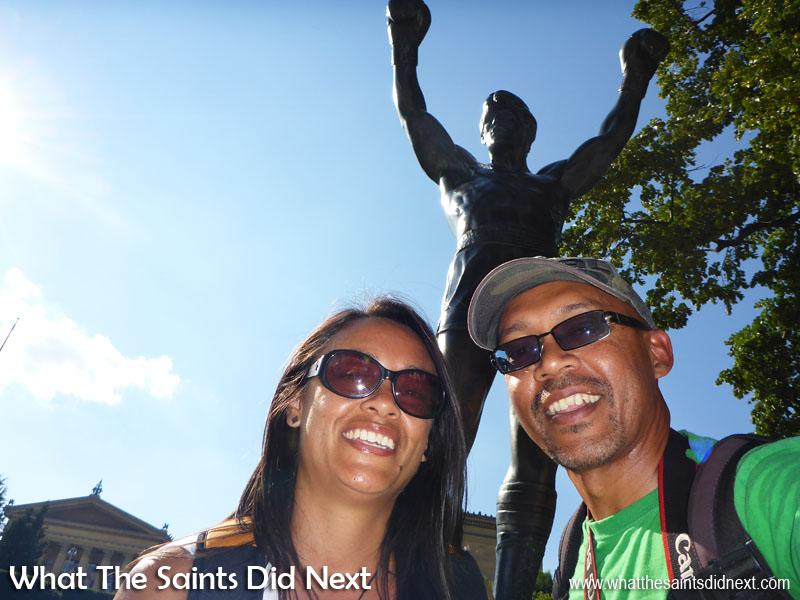 Selfie beneath the statue of Rocky in Philadelphia