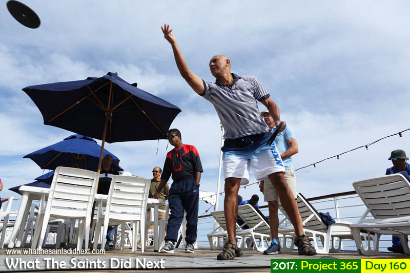 Playing deck quoits on board the RMS St Helena.