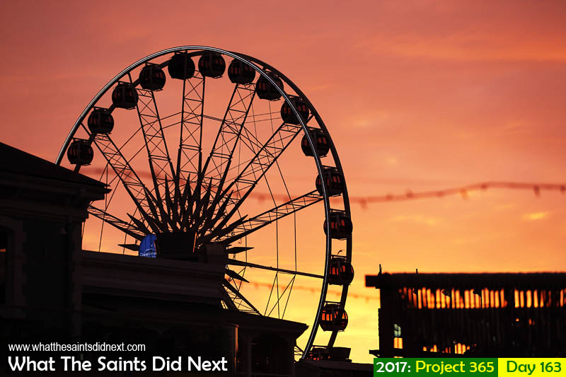 Cape Wheel at the V&A Waterfront, Cape Town, South Africa at sunset.