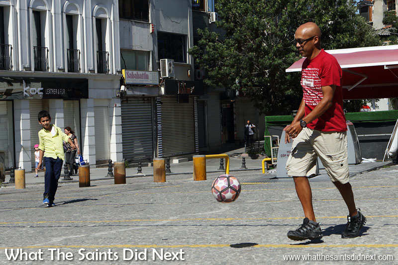 Street football with Omer in Istanbul, Turkey.