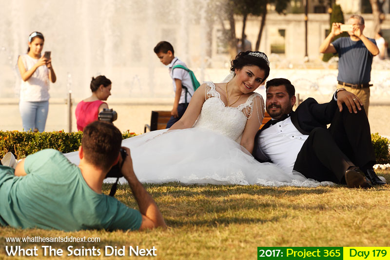 Wedding photo shoot taking place in Sultanahmet Arkeolojik Park in Istanbul, Turkey, also known as the Blue Archaeological Park.