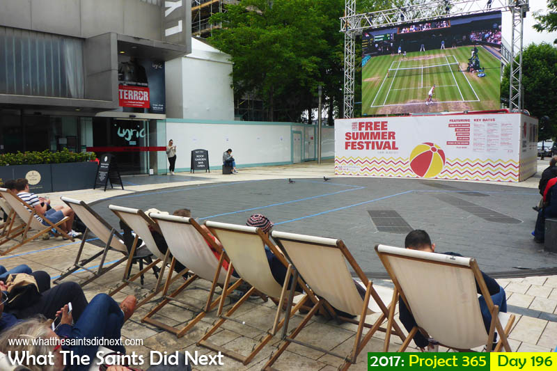 Ladies Wimbledon tennis final on the big screen in Hammersmith, London.