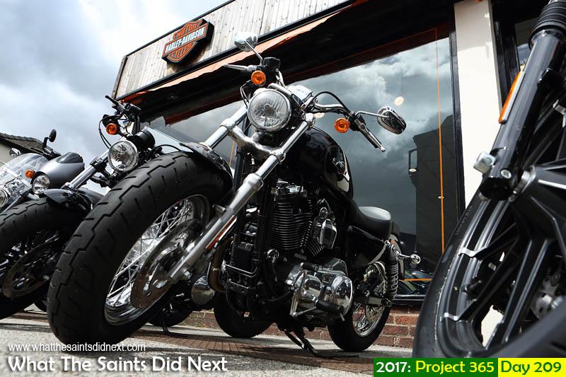 Choosing a ride at the Newmarket Harley Davidson centre.