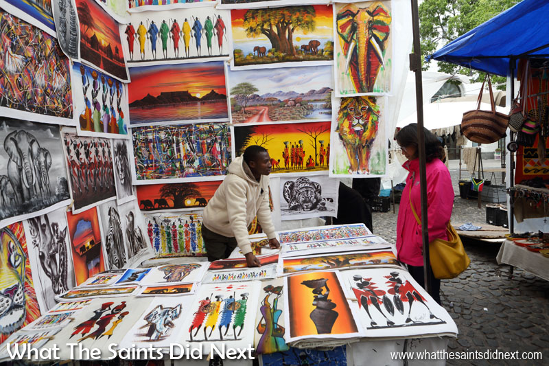 Add browsing African art at Green Market Square on your list of what to see in Cape Town.