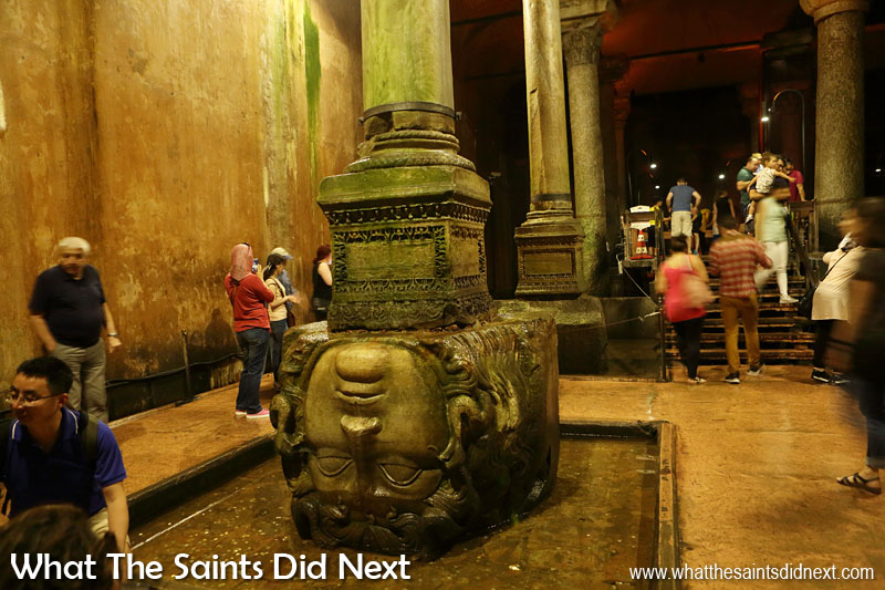Basilica Cistern in Istanbul - Two Medusa Heads support the two columns at the north-west edge of the cistern, great works of art from the Roman period.