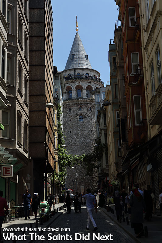 Approaching the Galata Tower, Istanbul through the narrow streets below.