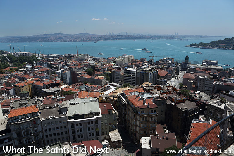 View from the top of the Galata Tower, Istanbul - looking south-east over the Bosphorus to the Asian side of Istanbul.