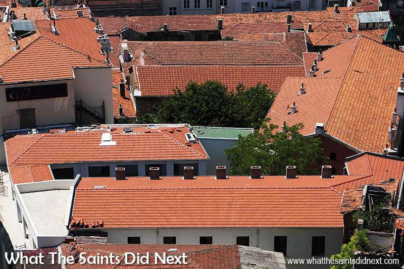 View from the top of the Galata Tower, Istanbul - the red roof tiles of the city down below.