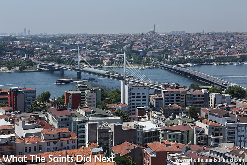 View from the top of the Galata Tower, Istanbul - the Golden Horn Metro Bridge (left) and the Atatürk Bridge (right).