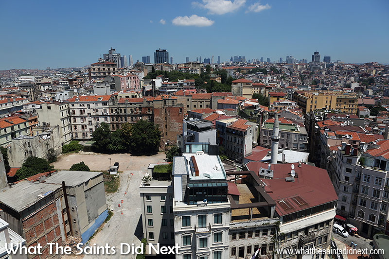 View from the top of the Galata Tower, Istanbul - the view looking north over the city.