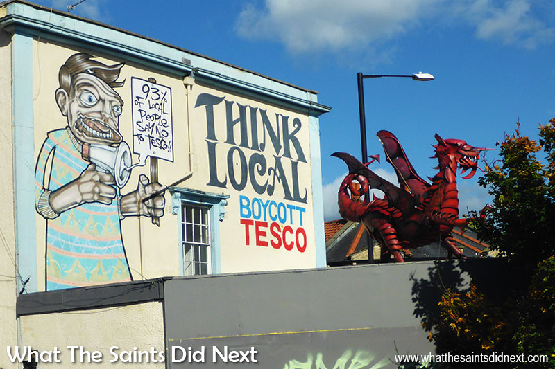 Graffiti in Bristol. This 'Boycott Tesco' mural was part of a local campaign to stop Tesco opening a branch in Stokes Croft.