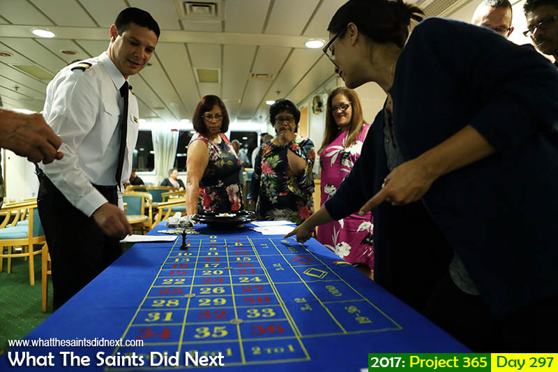 "'A valuable note'<br /> 24 October 2017, 22:05 - 1/60, f2.8, ISO-800<br /> Casino night on board the RMS <a href=""http://whatthesaintsdidnext.com/top-ten-highlights-of-rms-st-helena-part-2/"" target=""_blank"" rel=""noopener"">while at sea</a>."
