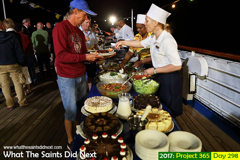 'Feeling harassed'<br /> 25 October 2017, 20:00 - 1/60, f3.2, ISO-1000<br /> Barbeque on deck on the RMS while at sea.