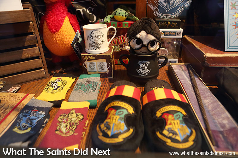 Harry Potter's Hogwarts bedroom slippers and more memorabilia in 'The Shop That Must Not Be Named' in York city centre.